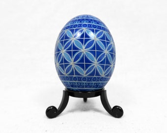 Pysanky, Ukrainian, Escher, Geometric, Modern, Easter Egg, Blue Geometric, Double Wedding Ring, Ukrainian Pysanky, Quilt Pattern - G13D