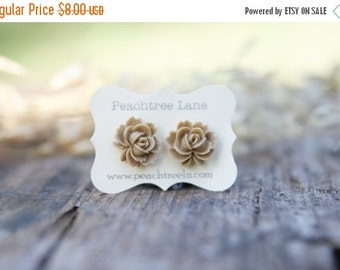 CYBER MONDAY SALE Tan Rose Flower Post Earrings // Bridesmaid Gifts // Wedding Party Gifts