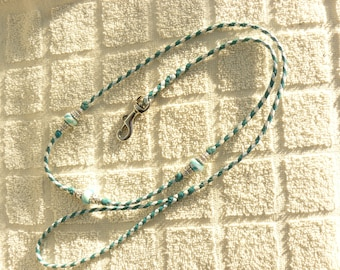 Braided Kangaroo Leather Dog Show Lead  - Aqua/White/Baby Blue - 38""