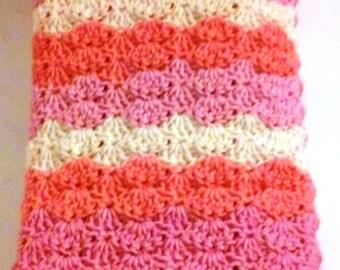 NEW Baby Blanket, Pink Crochet Blanket, Infant Bedding, Baby Shower, Crochet Baby Blanket,