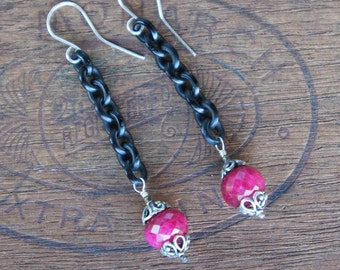 Antique Assemblage Earrings with Gutta Percha Chain and Rubies