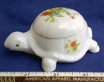 Vintage Lefton Turtle Trinket Ring Box China with Flowers Numbered