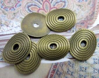 18 Bronze pendants bent oval ethnic jewelry finding gypsy jewelry boho chic jewelry pendants 23mm  (Y3),