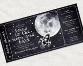 printable baby shower invitation boarding pass ticket invite, digital file, space rocket stars moon and back design, chalkboard retro modern