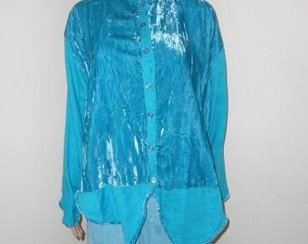 Turquoise Linen/Velvet Button Front Boho Jacket/Heavy Blouse - Size XL