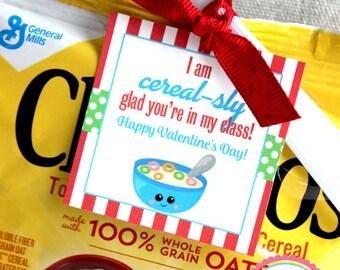 Cereal Valentine, Cereal-sly Valentine, Cereal Tag,  Printable Valentine, Valentine Tag, DIY Valentine, Classroom Valentine, Valentines
