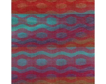 Red with Brown to Navy to Aqua Waves and Circles (R)