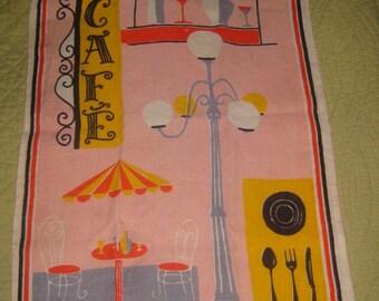 """Mid Century Pink Linen Tea Towel, """"Cafe"""""""