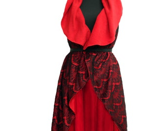 Red women shawl versatile black lace evening double-sided wrapping vest coat cape one size
