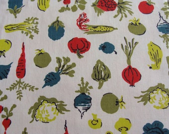 "Vintage Novelty Kitchen Cotton Fabric ~ Vegetables are good for you ~ 35""w x 19"""