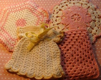 4 Sweet Pink ~ Yellow Vintage Hand Crochet Potholders ~ Dress & More