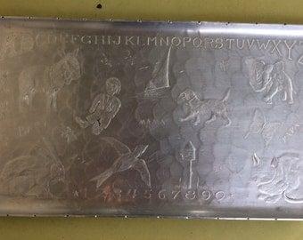 Vintage ABC Aluminum Tray