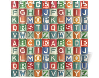 vintage childs wooden blocks shower curtain alphabet letters abc wooden blocks childs bathroom