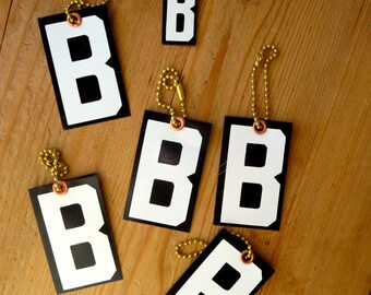 6 Key fobs  B key chains Vintage sign letter fobs Letter keychains Vintage Letter key fobs Black and white letters White and black initials
