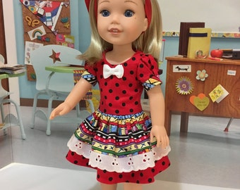 "Sale  Wellie Wishers ""Dotted Red"" dress for Wellie Wisher by American Girl  with shoes"