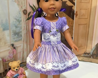 "Wellie Wishers  or Hearts 4 Hearts ""Lavender Lace"" dress with purple hairbows and as a gift from me the dark purple shoes"