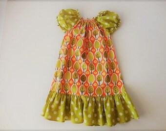 SALE SALE Ready to ship  Girls peasant dress green orange white trees size 4/5