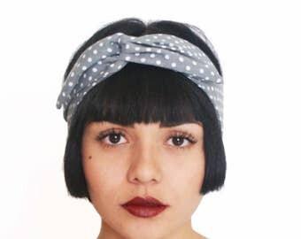 50% OFF Polka Dot Bandana Gray Twist Scarf Cotton Headband Retro Turban Style Multiple Look Headwrap