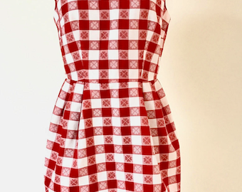 Vintage 1980s DKNY Red And White Gingham Dress