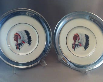 Vintage Lenox Indian Porcelain Plates, Indian Silver Trap Shooting Trophy Plates, 1987 and 1990, Trap Shooting Trophy Plates, *USA ONLY*