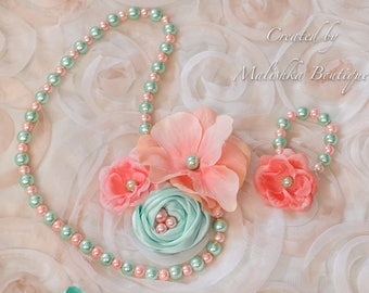 Peach Mint Green Pearl Necklace Bracelet set, little baby girl fabric flower jewelry, salmon coral sea foam baby shower gift first birthday