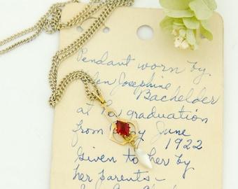 1922 Antique 10k Gold Pendant | 1920s Gold Pendant | Vintage 10k Pendant Red Glass Pearl Drop