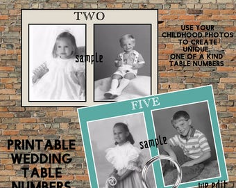 Childhood Picture Table Numbers, Childhood Printable Table Numbers Photo Wedding Reception Table Number Cards Printable DIY