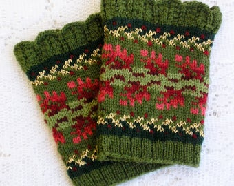 Knitting Kit - Wintertide Wristlets - Evergreen Colorway - Cuffs with Lace Edging and Metallic Accents