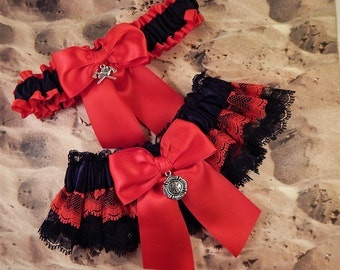 Firefighter Red Satin Black Lace Maltese Fire Axe Charm Wedding Bridal Garter Toss Set