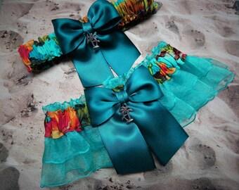 Hawaiian Print Teal Ribbon Aqua Organza Palm Tree Bridal Wedding Garter Set Toss