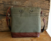 RESERVED for kyl petty /Canvas Purse messenger/ crossover handbag/  leather trim Moss brown--