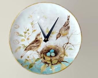 SILENT Bird Wall Clock, 11-1/4 Inches Ceramic Plate Clock, Unique Wall Decor, Kitchen Clock, Bird and Floral Wall Clock - 2274