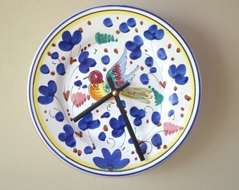 8 Inch Whimsical Bird Wall Clock, Silent Ceramic Plate Clock, Blue Floral Clock, Unique Wall Clock - 2365