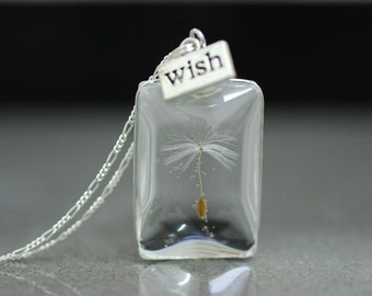 Real Dandelion 925 Silver Necklace