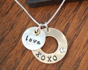 Valentine Mixed Metal Hand Stamped Personalized Necklace