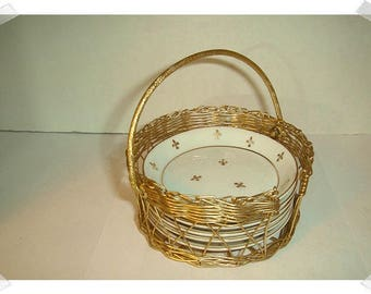 Ceramic Coasters With Wire Caddy Basket/Vintage/ Supplies*