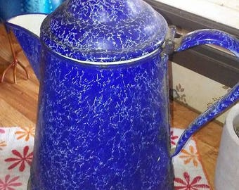 Rare Bright Blue Enamelware Coffee Pot