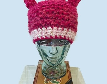 Hot Pink Pussy Hat, Pussy ears in Hot Pink Hat, Pink Wool Hat with Cat ears, hot pink Hat,  Pussycat Hat in mixed Pink, womens march