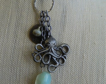 Relic Series - Octopus's Garden - long dangle necklace with ice blue agate, octopus charm