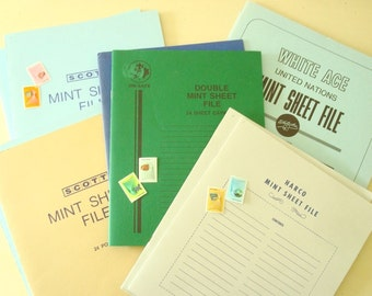 Vintage mint sheet files for stamp collecting, 10 philatelic file folders for organizing for large sheets, first-day covers & souvenir cards