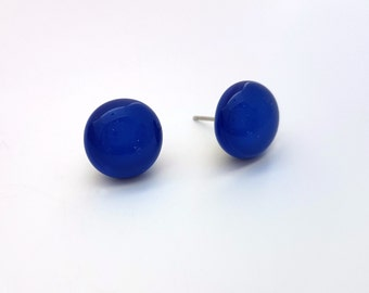 Blue Fused Glass Stud Earrings