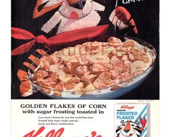 1962 Kellogg's Frosted Flakes Vintage Ad, Retro Tony the Tiger, Retro Cereal Ad, Advertising Art, 1960's Breakfast, Great to Frame.