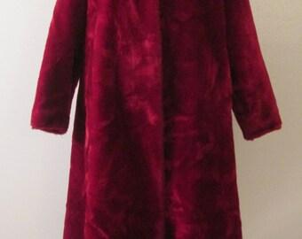 50s/60s Borgana Cranberry Plush Faux Fur Swing Coat Sz S/M