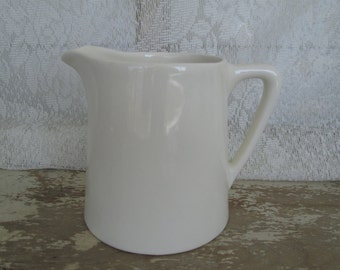 White Ironstone China Pitcher Simply White Decorating Decor Farmhouse Farm House Country Rustic Prairie Peasant Serving Kitchenware