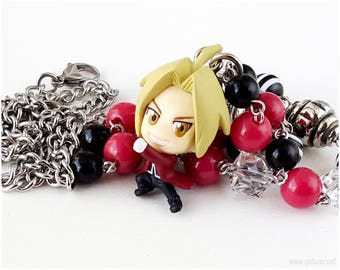FMA Edward Figure Necklace, Burgundy Red, Black and White, Stainless Steel, Anime, Kawaii