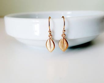 Gold Leaf Earrings Gold Filled Nature Naturalist Gift Dangles Minimalist Small Delicate Bridal Jewelry Botanical