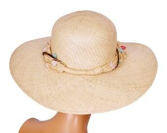 Vintage 1960s Straw Summer Sun Hat Ladies Size M