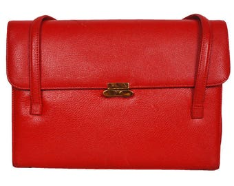 Vintage 1950s Red Leather Handbag Purse