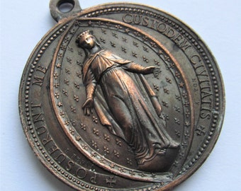 Virgin Mary Our Lady Of Deliverance Antique French Religious Medal Pendant Signed Penin Dated 1873  SS168