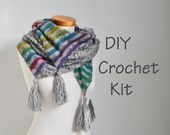 DIY haak Kit, gehaakte omslagdoek kit, PIJL, garen en patroon